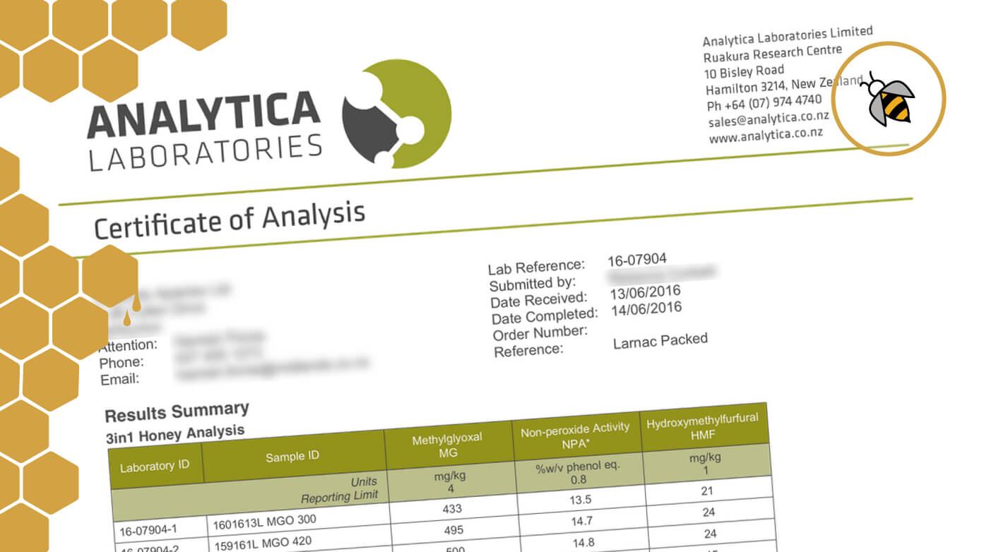 Beispielhaftes Zertifikat für Larnac Manuka Honig