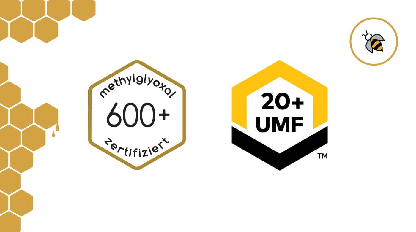 MGO und UMF Logo bei Manuka Honig im Vergleich