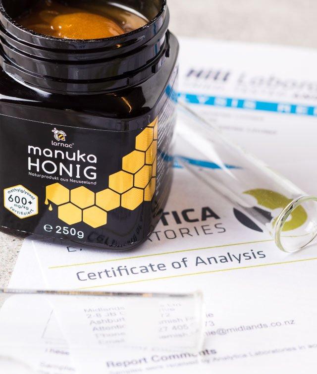 Larnac Manuka Honig MGO 600+ auf Zertifikat