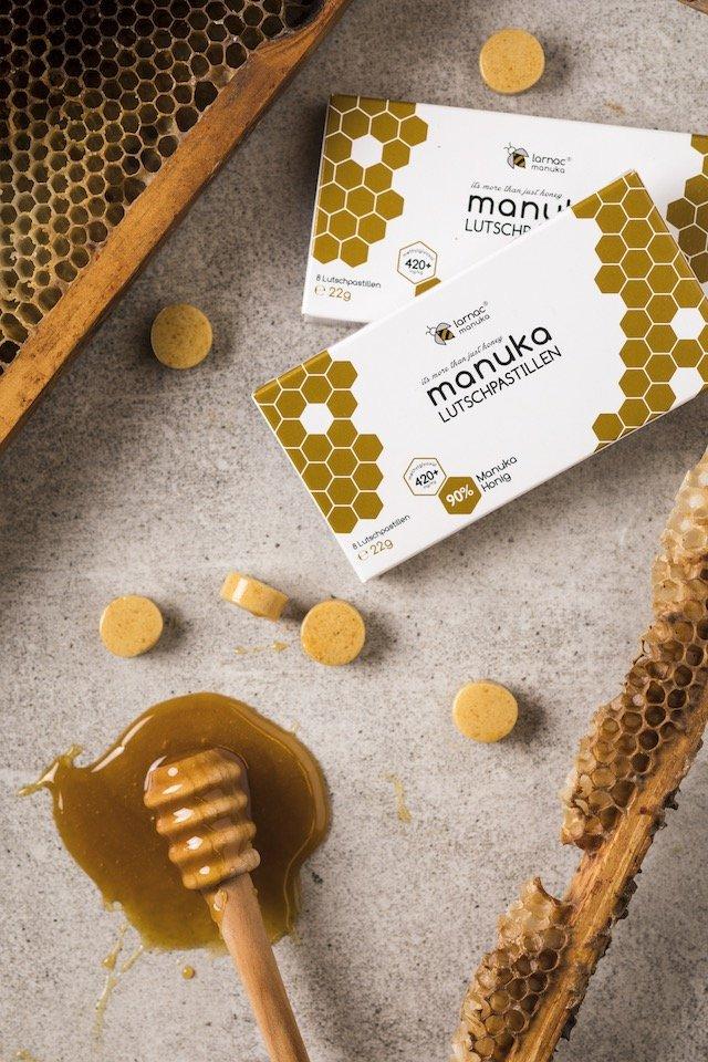 Larnac Manuka Lutschpastillen mit Honig und Bienenwabe